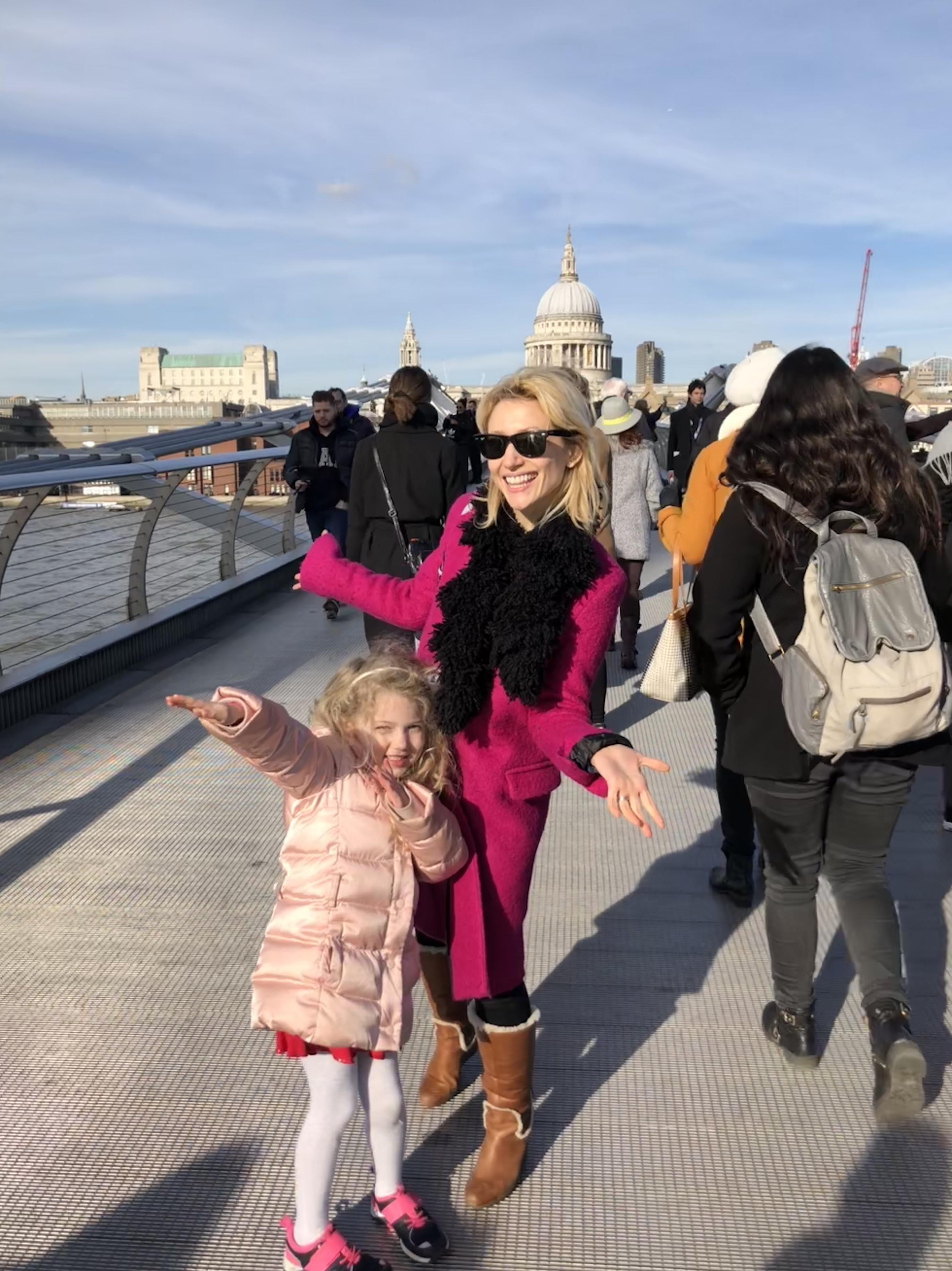 Wander Mum and Mrs T on Millennium Bridge, London